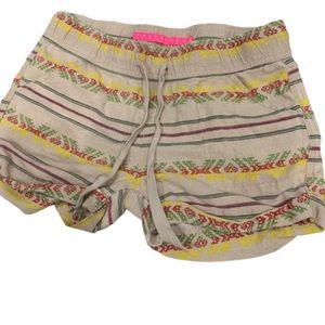Tinseltown beige Aztec print cotton shorts